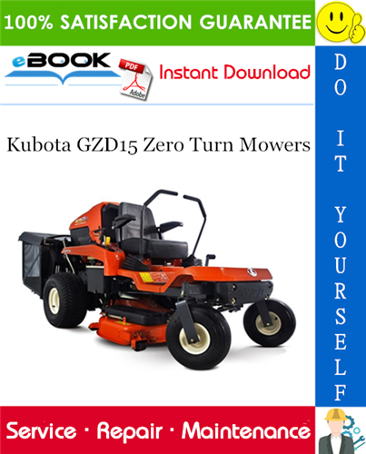 Thumbnail ☆☆ Best ☆☆ Kubota GZD15 Zero Turn Mowers Service Repair Manual