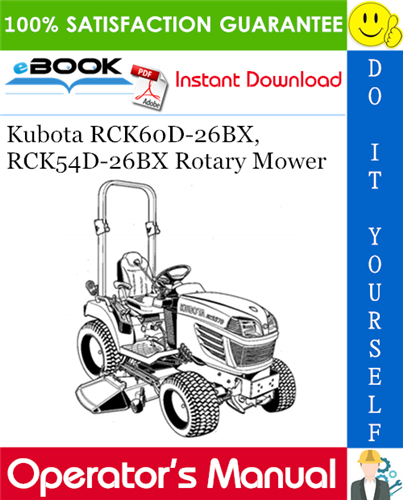 Thumbnail ☆☆ Best ☆☆ Kubota RCK60D-26BX, RCK54D-26BX Rotary Mower Operators Manual