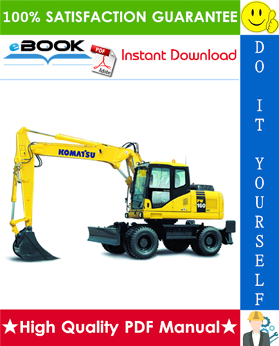 Thumbnail ☆☆ Best ☆☆ Komatsu PW160-7H Wheeled Excavator Operation & Maintenance Manual (Serial Number: H50051 and up)