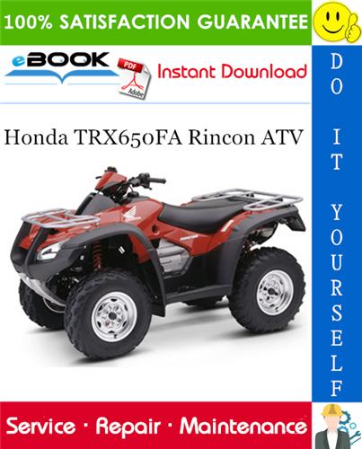 Thumbnail ☆☆ Best ☆☆ 2003 Honda TRX650FA Rincon ATV Service Repair Manual