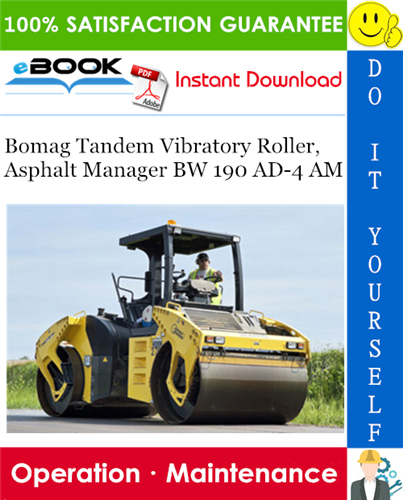 Thumbnail ☆☆ Best ☆☆ Bomag Tandem Vibratory Roller, Asphalt Manager BW 190 AD-4 AM Operation & Maintenance Manual