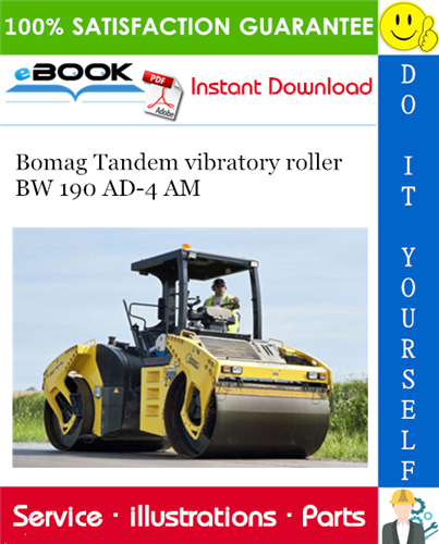 Thumbnail ☆☆ Best ☆☆ Bomag Tandem vibratory roller BW 190 AD-4 AM Spare Parts Catalogue Manual