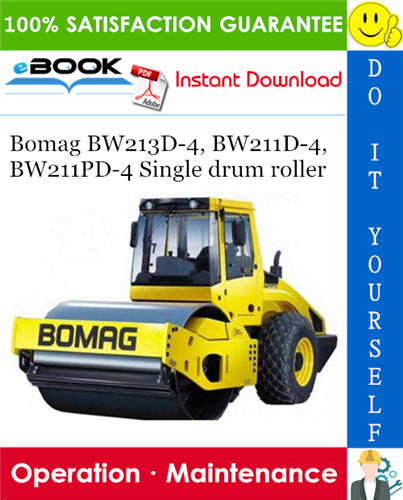 Thumbnail ☆☆ Best ☆☆ Bomag BW213D-4, BW211D-4, BW211PD-4 Single drum roller Operation & Maintenance Manual