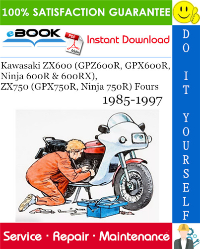 Thumbnail ☆☆ Best ☆☆ Kawasaki ZX600 (GPZ600R, GPX600R, Ninja 600R & 600RX), ZX750 (GPX750R, Ninja 750R) Fours Motorcycle Service Repair Manual 1985-1997 Download