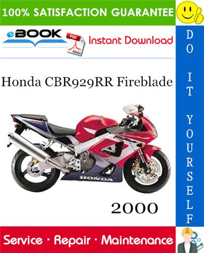 Thumbnail ☆☆ Best ☆☆ 2000 Honda CBR929RR Fireblade Motorcycle Service Repair Manual