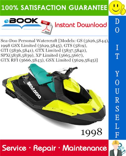 Thumbnail ☆☆ Best ☆☆ 1998 Sea-Doo Personal Watercraft [Models: GS (5626,5844), 1998 GSX Limited (5629,5845), GTS (5819), GTI (5836,5841), GTX Limited (5837,5842), SPX(5838,5839), XP