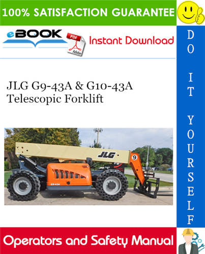 Thumbnail ☆☆ Best ☆☆ JLG G9-43A & G10-43A Telescopic Forklift Operation & Safety Manual (P/N - 31200150)