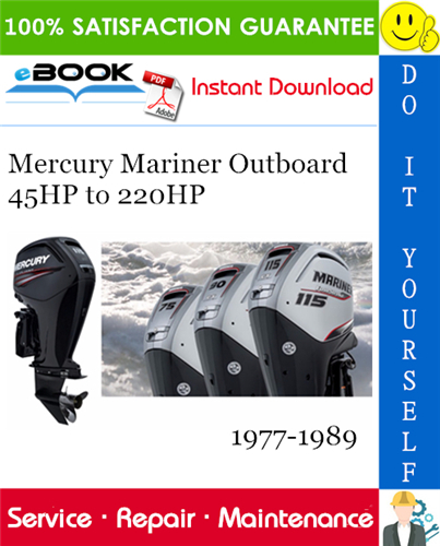 Thumbnail ☆☆ Best ☆☆ Mercury Mariner Outboard 45HP to 220HP Service Repair Manual 1977-1989 Download
