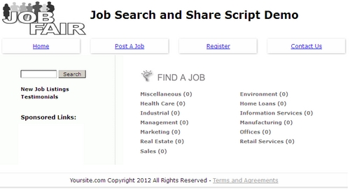 job sharing classified php mysql script with resale rights