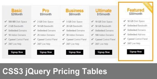 Pay for responsive css3 jquery pricing tables with resell for Jquery get the with the table