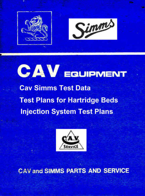 cav test plans for hartridge test machines download manuals