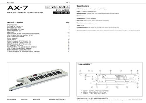 Roland ax7 ax-7 ax 7 complete service manual
