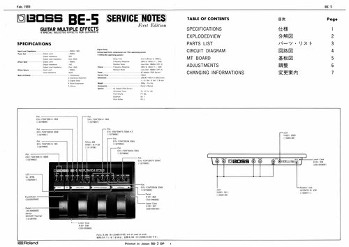 Pay for Roland be5 be-5 be boss guitar complete service manual