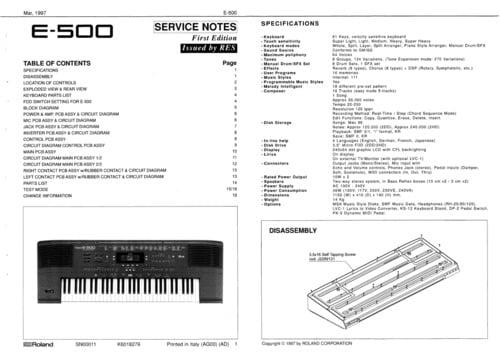 Roland e-500 e500 e 500 synthesizer complete service manual