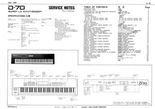 roland d70 d 70 d 70 synthesizer complete service manual download rh tradebit com roland a-70 manual roland a-70 manual