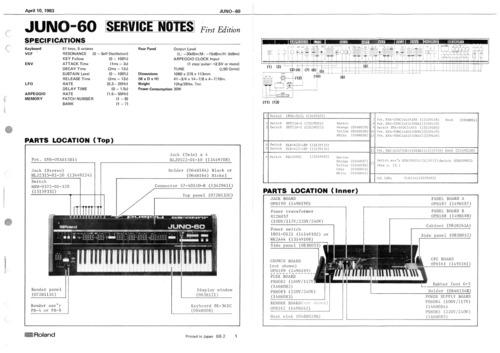 Pay for Roland juno60 juno-60 juno 60 complete service manual