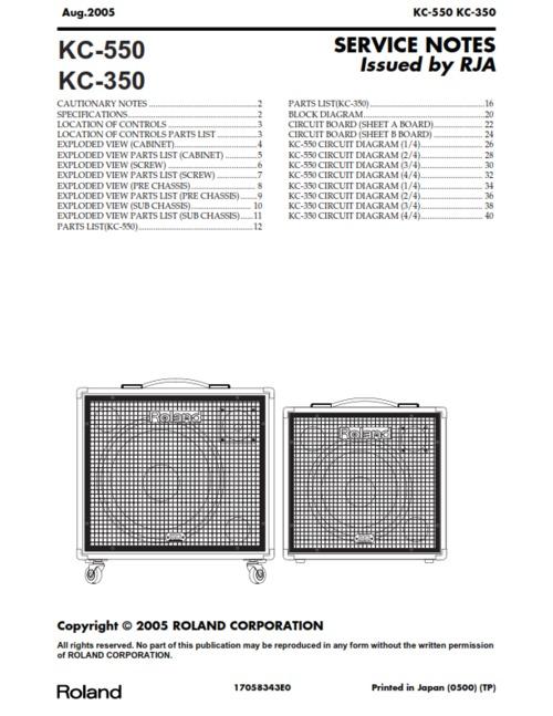 Free Roland kc350 kc550 kc-350 kc-550 kc complete service manual Download thumbnail