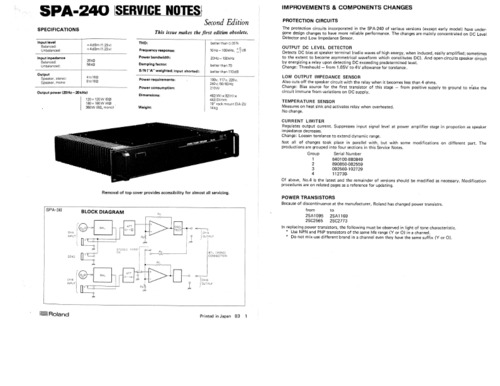 Free Roland spa240 spa-240 spa 240 complete service repair manual Download thumbnail