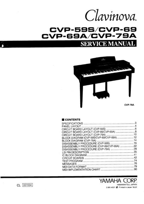 yamaha cvp 59 cvp 69 cvp 79 complete service manual download manu rh tradebit com Used Yamaha Clavinova Piano Manuals Yamaha Clavinova CVP 401