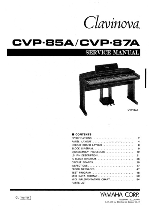yamaha cvp 85 cvp 87 cvp85a cvp87a complete service manual downlo rh tradebit com Yamaha Clavinova Clp-155 Replacement Feet Used Yamaha Clavinova Piano Manuals