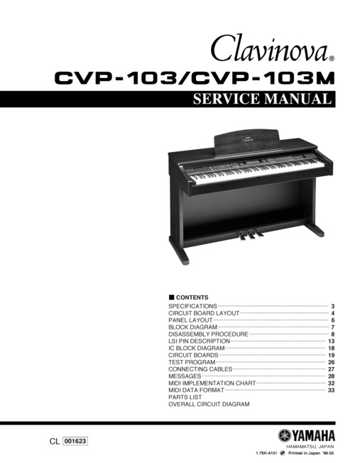 Pay for Yamaha cvp103 cvp-103 cvp103m complete service manual