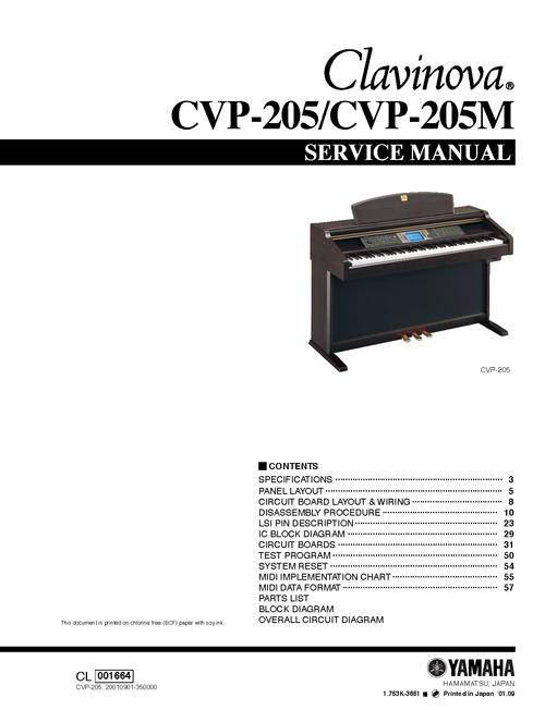 Pay for Yamaha cvp205 cvp-205 cvp complete service manual