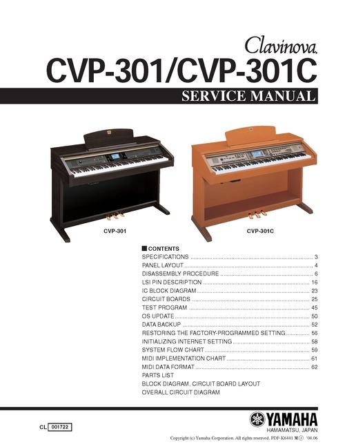 yamaha cvp301 cvp 301 complete service manual download manuals a rh tradebit com yamaha clavinova cvp 301 price Yamaha Clavinova CVP 605
