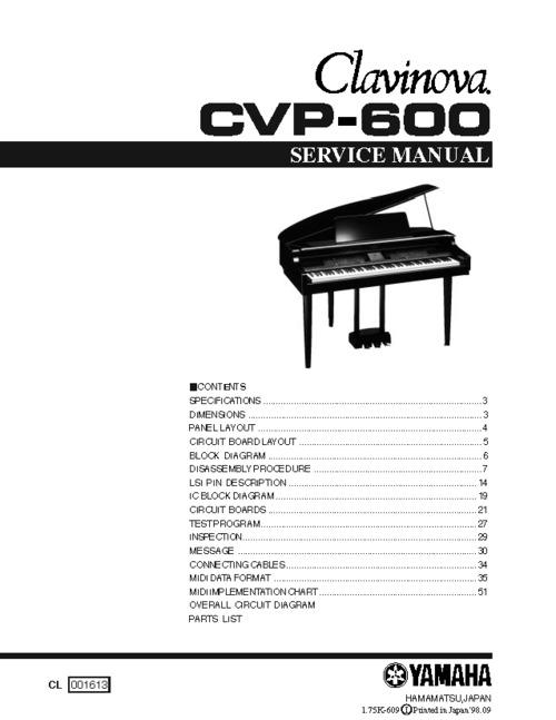 Pay for Yamaha cvp600 cvp-600 complete cvp service manual