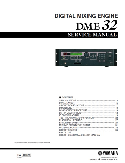 Pay for Yamaha dme32 dme-32 dme complete service manual