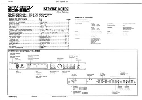 roland srv 300 srv330 sde 330 sde330 complete service manual down rh tradebit com roland sdx 330 manual Roland BA-330 Stereo Portable Amplifier