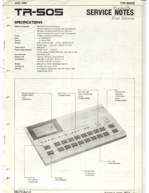 Pay for Roland tr505 tr-505 505 complete service manual