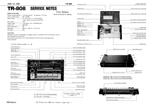 roland tr808 tr-808 808 complete service manual