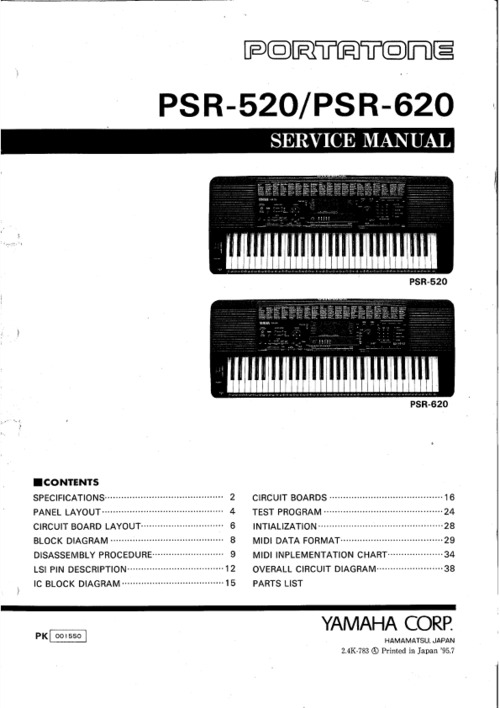 Yamaha psr 320 Repair manual