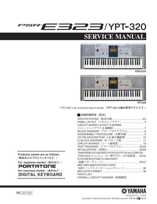 yamaha psr 320 manual