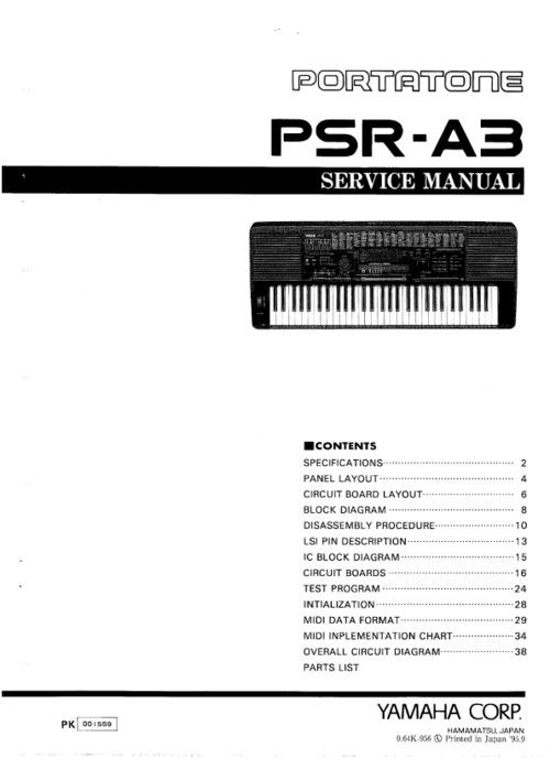Yamaha psr-a3 psra3 psr complete service repair manual