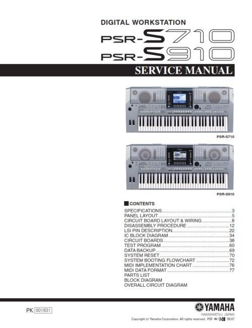 yamaha psr s710 psr s910 psr complete service manual download man rh tradebit com psr s710 service manual yamaha psr s710 reference manual