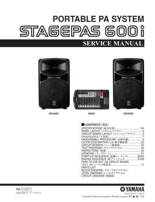 Free Yamaha Stagepas150m Stagepas 150 150m Service Manual