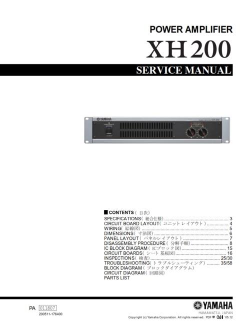 Yamaha xh200 xh-200 power amplifier full service manual