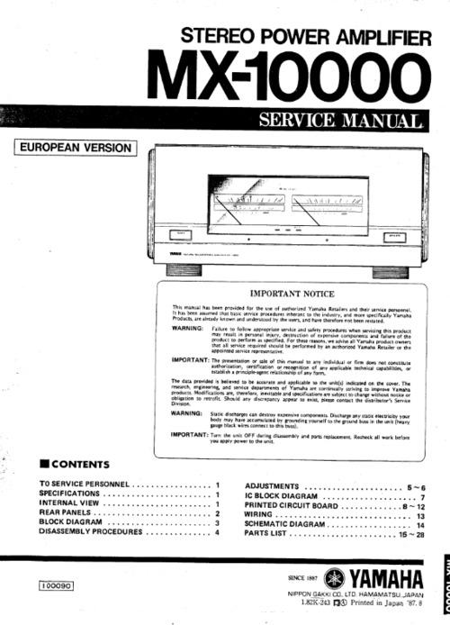 yamaha mx10000 mx 10000 power amplifier service manual full downl rh tradebit com yamaha mx 70 service manual yamaha dt 125 mx service manual