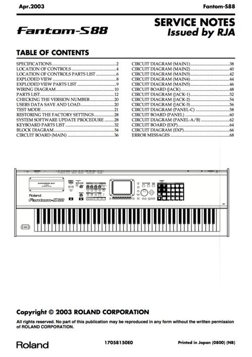 roland s88 s 88 s88 fantom complete service manual download manua rh tradebit com Roland Fantom S61 Roland Fantom X6