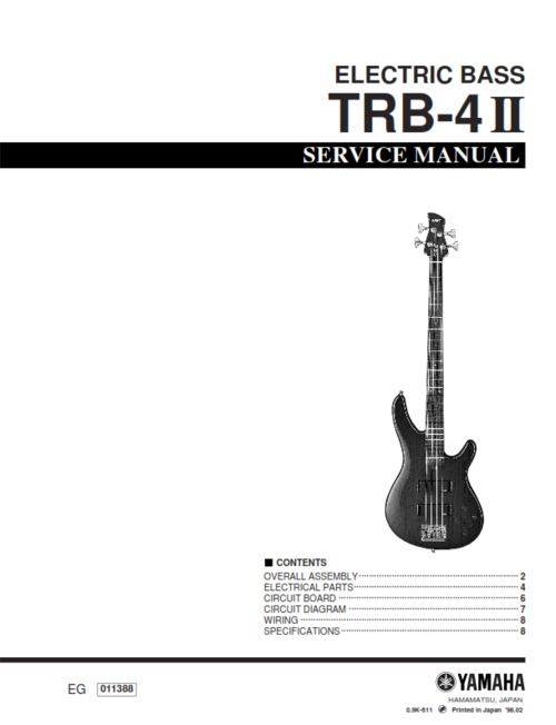 Yamaha trb 4ii trb4ii trb4 electric bass full service for Yamaha rx v1600 manual