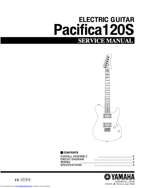 Yamaha       pacifica    120s 120 electric guitar full service manual  Down