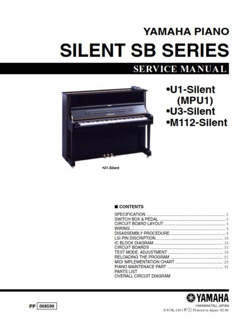 Yamaha sb series silent piano service manual u1 u3 m112