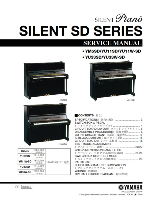 yamaha silent sd series piano service manual download manuals am rh tradebit com Yamaha G3 Piano Length Yamaha Silent Piano Mechanism
