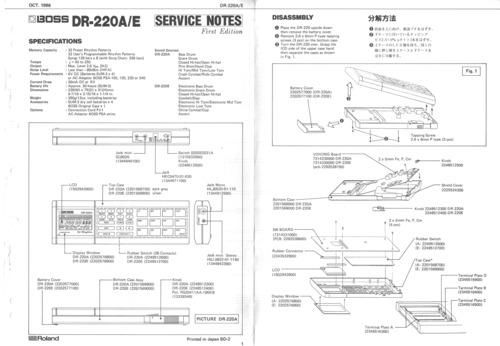 Free Roland Dr220 Dr-220 Dr-220ae Rhythm Boss Service Manual Download thumbnail