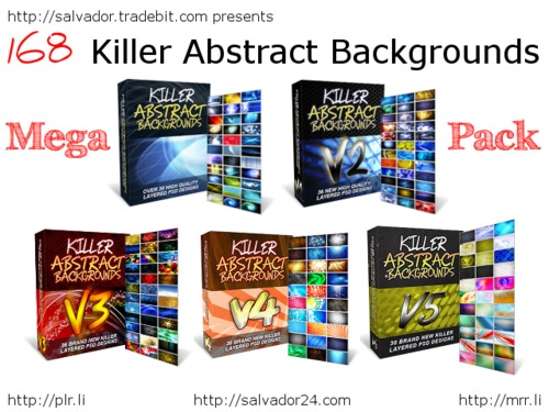 View Killer Abstract Backgrounds v1-5 MEGAPACK in my tradebit store