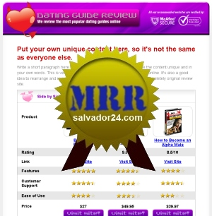 View Dating Review Site with MRR (Master Resale Rights) in my tradebit store