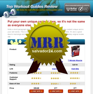 View Fitness Review Site with MRR (Master Resale Rights) in my tradebit store