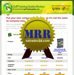 View Golf Review Site with MRR (Master Resale Rights) in my tradebit store