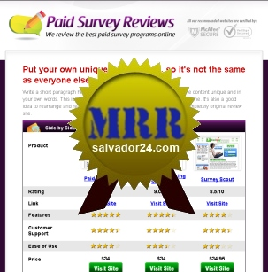 View Paid Survey Review Site with MRR (Master Resale Rights) in my tradebit store